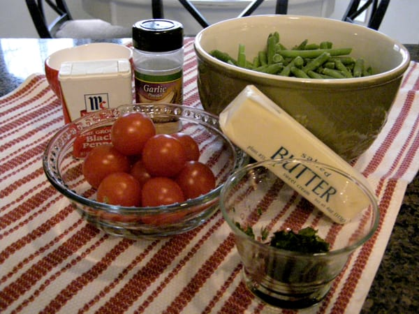 Assemble the ingredients for Green Beans with Cherry Tomatoes