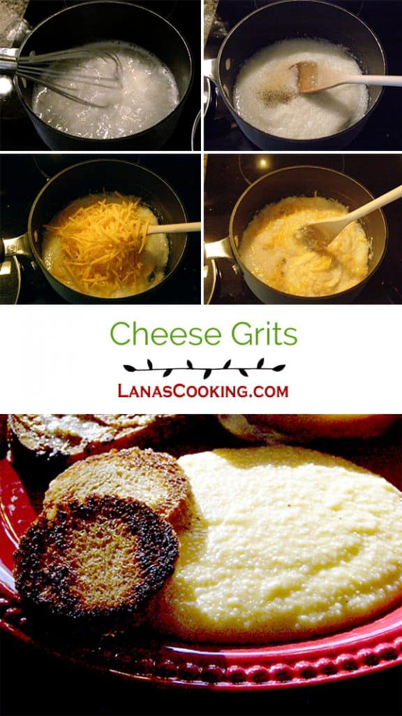 Cheese Grits - Creamy grits with cheddar cheese and a hint of garlic. Part of many a southern breakfast. https://www.lanascooking.com