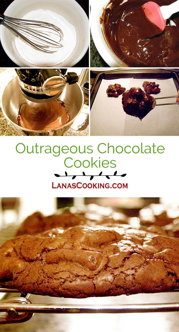 A decadent chocolate cookie that bakes up shiny and crackly on the outside and soft in the center. From @NevrEnoughThyme http://www.lanascooking.com/outrageous-chocolate-cookies/