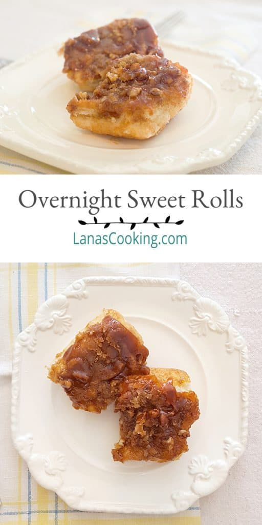 Overnight Sweet Rolls - an easy breakfast dish for guests or family. Uses frozen roll dough, butterscotch pudding mix, pecans and lots of butter! From @NevrEnoughThyme https://www.lanascooking.com/overnight-sweet-rolls/
