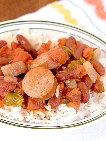 Red Beans and Rice, an old southern recipe originally from New Orleans. htps:/www.lanascooking.com/red-beans-and-rice/