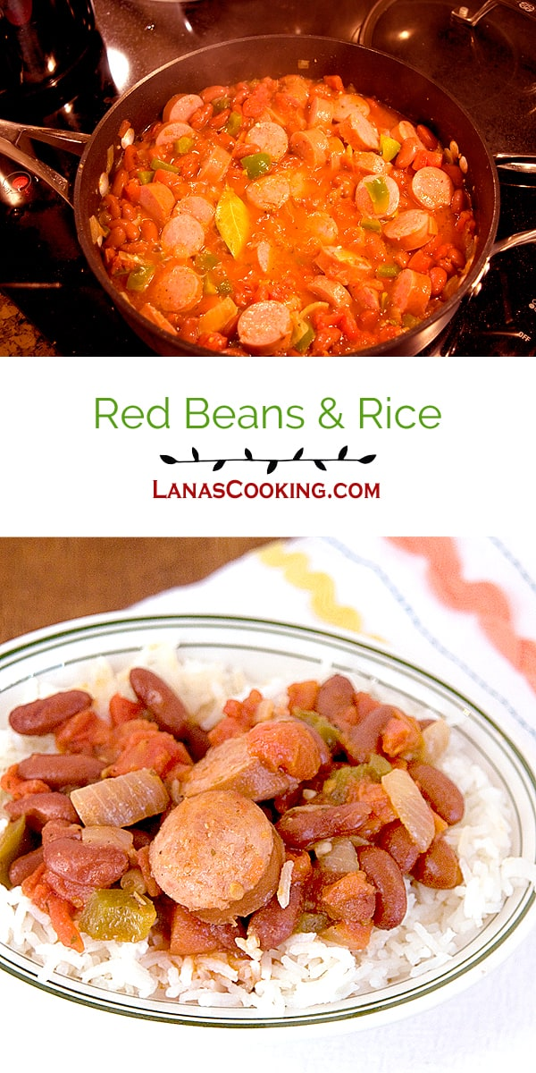 Red Beans and Rice, an old southern recipe originally from New Orleans. From @NevrEnoughThyme htps:/www.lanascooking.com/red-beans-and-rice/