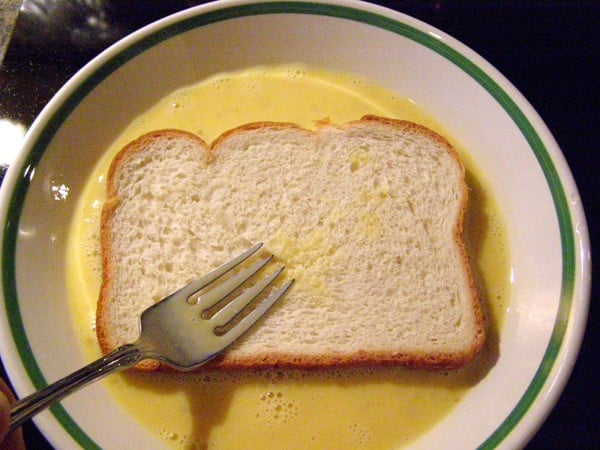 Dip the bread into the egg mixture for Easy French toast