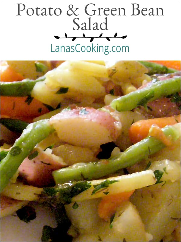 Potato and Green Bean Salad - A lovely, light, and fresh combination of potatoes, beans, carrots, and roasted tomatoes. Great for weeknight dinners. From @NevrEnoughThyme https://www.lanascooking.com/potato-and-green-bean-salad/