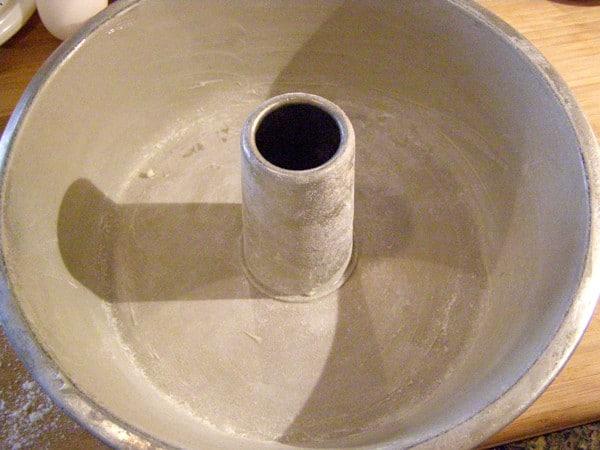 Prepare the tube pan for Never Fail Pound Cake