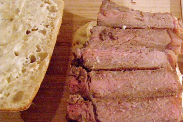 Layer steak over bread