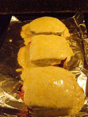 Assembled sandwiches after broiling.