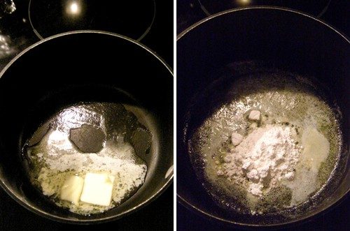 Melting butter in a small saucepan (left); flour added to the butter (right).