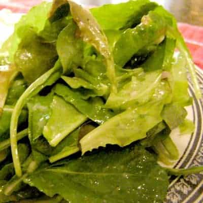 Fresh Salad Greens with Classic Vinaigrette - lovely fresh salad greens dressed simply with a classic French vinaigrette recipe. From @NevrEnoughThyme https://www.lanascooking.com/fresh-salad-greens-with-classic-vinaigrette/