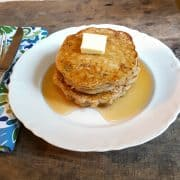 Oatmeal Cookie Pancakes - take an oatmeal cookie recipe and translate it into pancakes and you have a wonderfully delicious breakfast! https://www.lanascooking.com/oatmeal-cookie-pancakes/