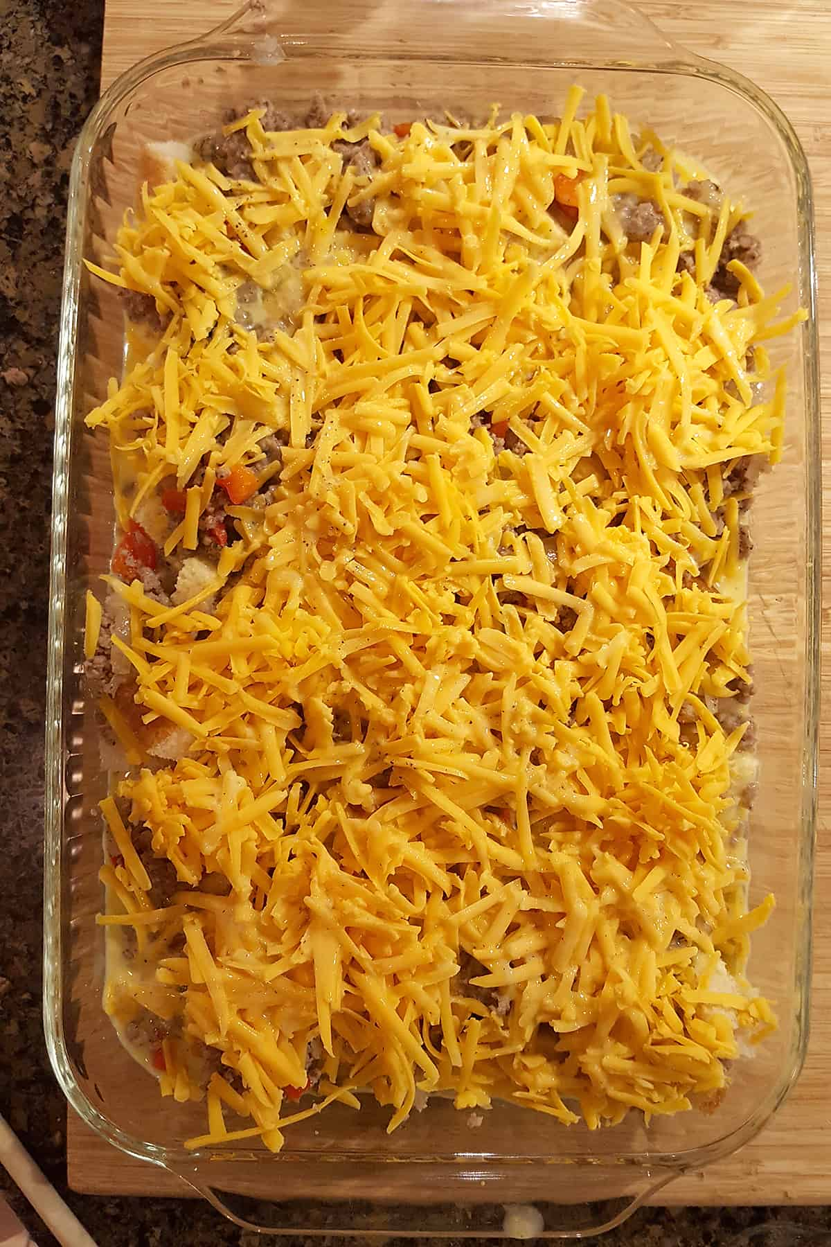 Finished casserole in a baking dish