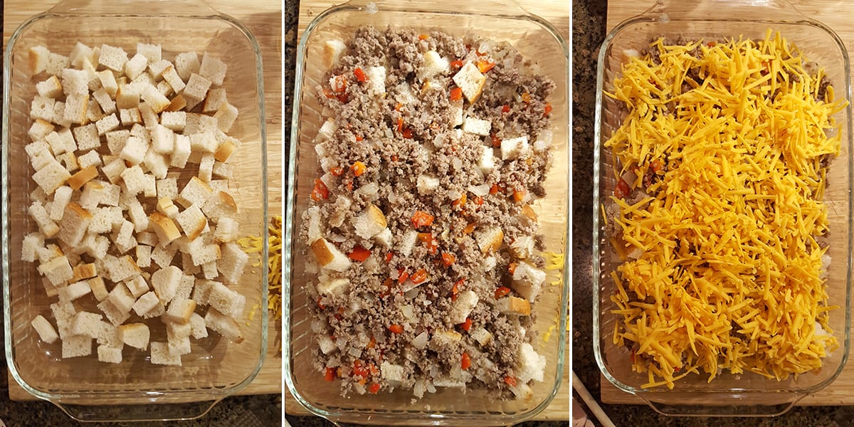 Photo college illustrating the three layers of the casserole; bread, sausage-onions-peppers, cheese