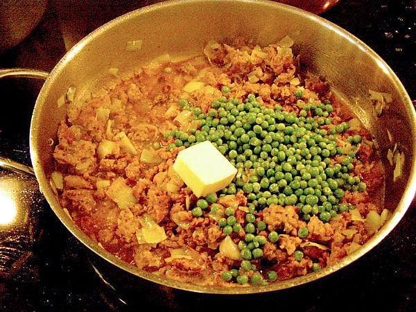 Add the peas and butter
