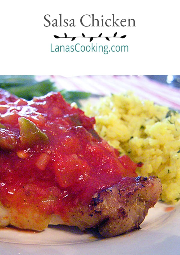 This Salsa Chicken makes a quick but delicious weeknight dinner. Chicken is simply baked with a coating of purchased salsa. From @NevrEnoughThyme https://www.lanascooking.com/salsa-chicken-quick-weeknight-dinner/
