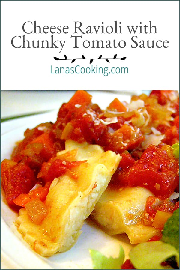 Cheese Ravioli with Chunky Tomato Sauce - delicious ravioli filled with four cheeses and topped with a chunky tomato and veggie sauce. From @NevrEnoughThyme https://www.lanascooking.com/ravioli-with-chunky-tomato-sauce/