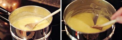 Adding beaten egg yolks to filling mixture.