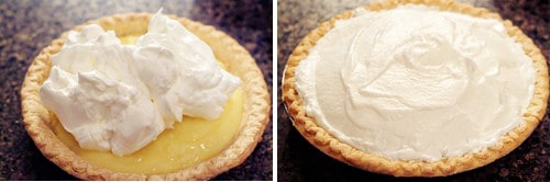 Meringue added to top of pie.