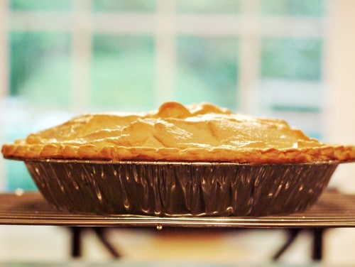 Baked pie cooling on a rack.