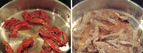 Cooking beef strips in a skillet.