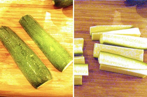 Prep the zucchini and cut into sticks