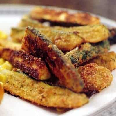 "Zucchini Fries are a great way to use extra zucchini! These ""fries"" are coated with bread crumbs and Parmesan and baked until golden brown. From @NevrEnoughThyme https://www.lanascooking.com/zucchini-fries/"