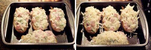 Stuffed potato shells in baking pan.