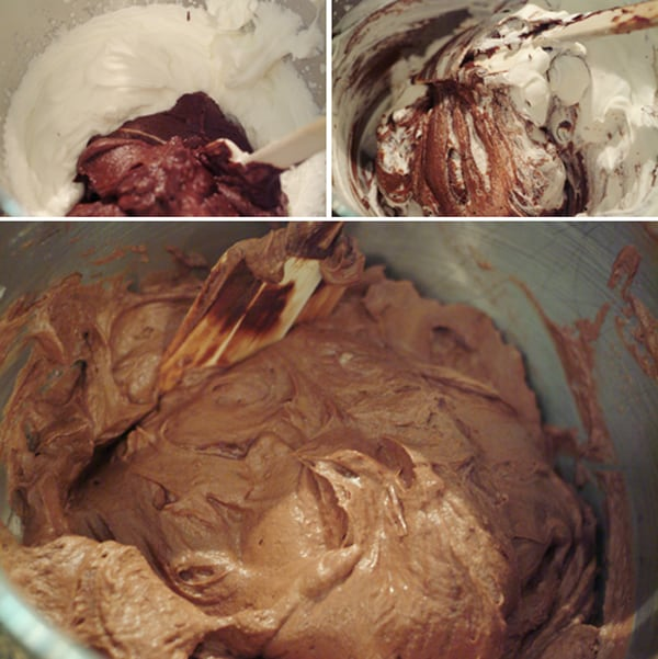 Fold together whipped cream and chocolate mixture