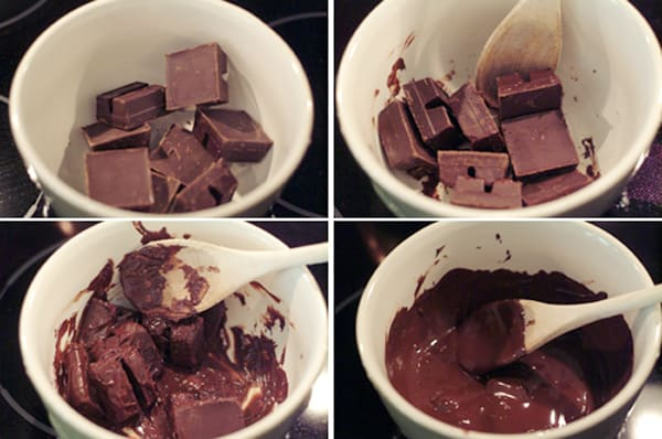 Melting chocolate for No Bake Chocolate Cheesecake