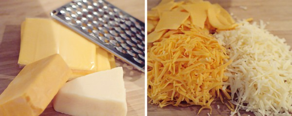 Grating and preparing cheese.