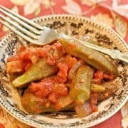 Okra and Tomatoes - two Southern classics even more delicious when paired. The perfect side dish for almost any traditional southern meal. https://www.lanascooking.com/okra-and-tomatoes/