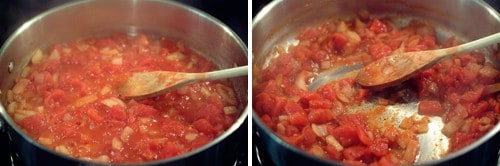 Diced tomatoes added to the skillet with onions.