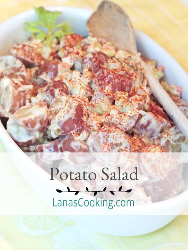 Favorite Summertime Potato Salad - Our favorite classic potato salad with a mayonnaise based dressing. From @NevrEnoughThyme https://www.lanascooking.com/potato-salad/