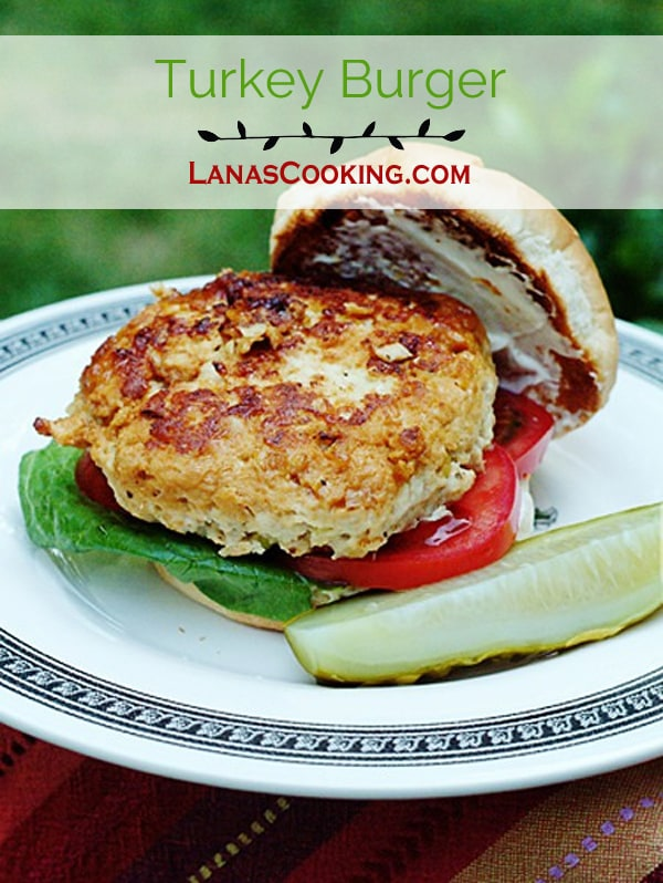 Turkey Burger - Juicy, delicious, lightly seasoned and grilled turkey burgers. From @NevrEnoughThyme https://www.lanascooking.com/turkey-burgers/