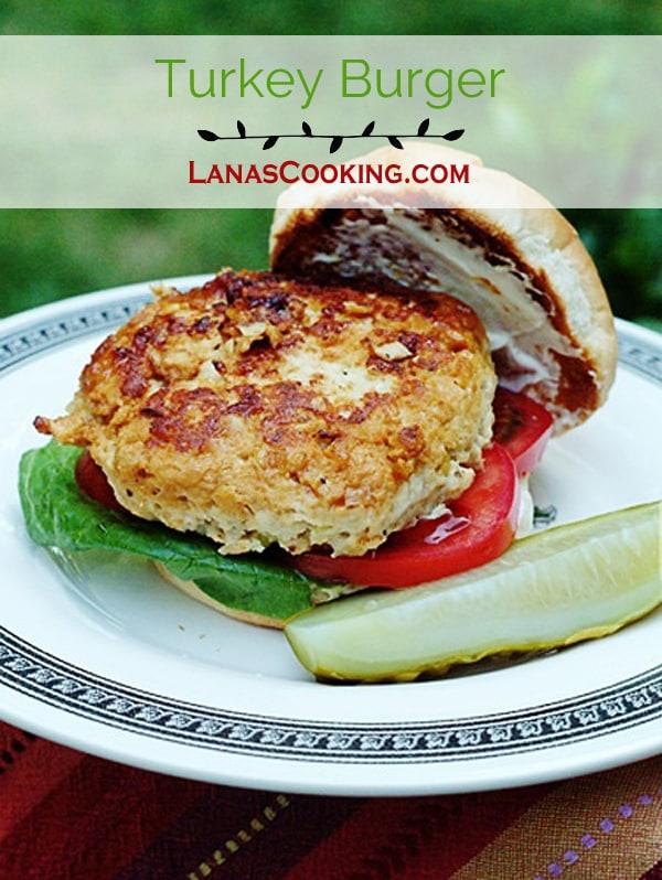 Turkey Burger - Juicy, delicious, lightly seasoned and grilled turkey burgers. https://www.lanascooking.com/turkey-burgers/