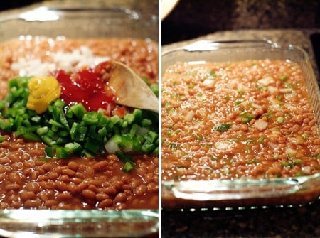 Mix together ingredients for Baked Beans