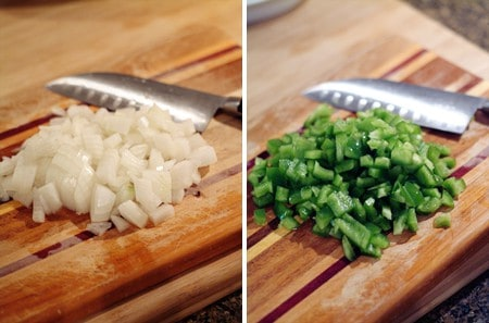 Add onions and peppers to Baked Beans Side Dish