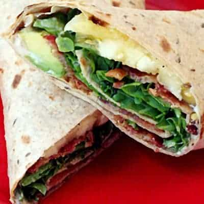 BLAT (Bacon, Lettuce, Avocado, and Tomato) Wrap - a deliciously different take on a BLT wrapped in a whole grain tortilla. From @NevrEnoughThyme https://www.lanascooking.com/blat-wrap/