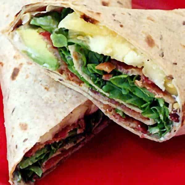 BLAT (Bacon, Lettuce, Avocado, and Tomato) Wrap - a deliciously different take on a BLT wrapped in a whole grain tortilla. https://www.lanascooking.com/blat-wrap/