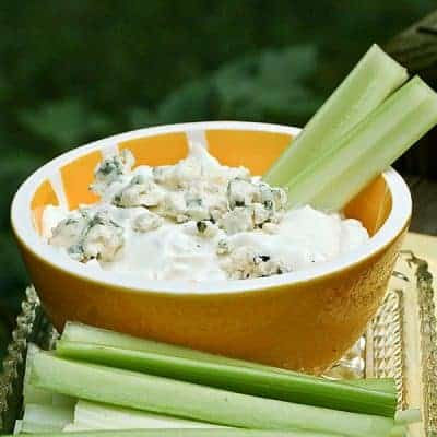 This delicious Bleu Cheese Dip is perfect with raw vegetables or alongside Buffalo chicken wings. You could even put a dollop on your burger! From @NevrEnoughThyme https://www.lanascooking.com/bleu-cheese-dip/