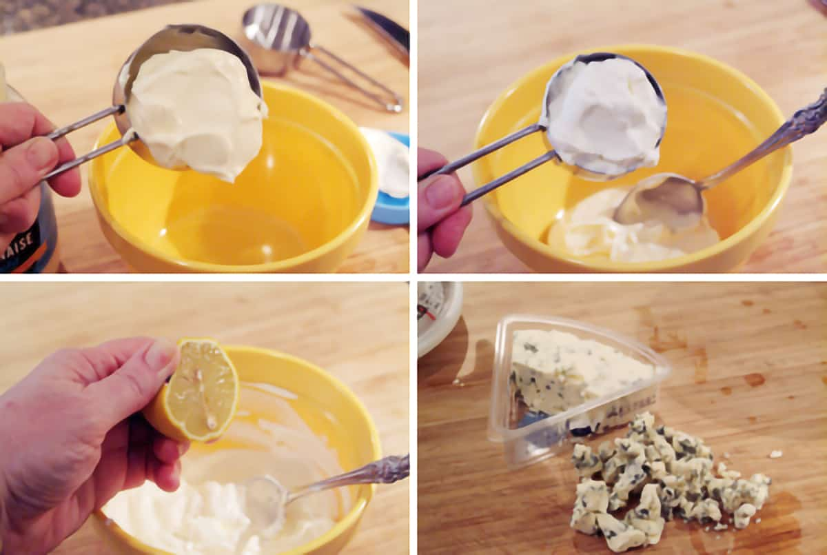 Adding ingredients for the dip into a small mixing bowl.