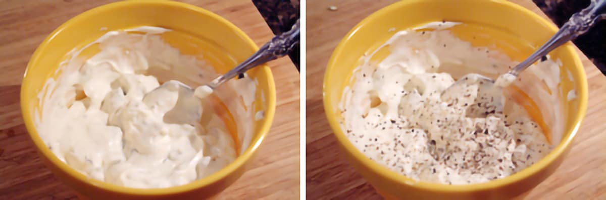 Adding salt and pepper to the dip mixture in a small bowl.