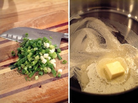 Prep and saute the green onions