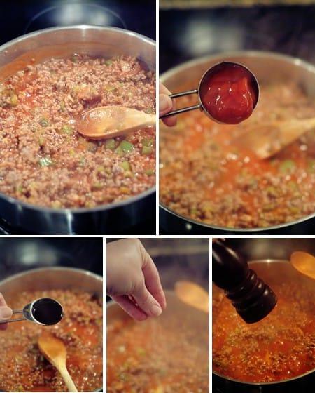 Add seasonings to the pan