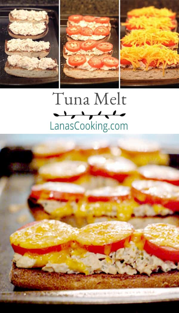 Classic tuna melt - a kicked-up tuna sandwich on toasted ciabatta bread with tomatoes and cheddar cheese! From @NevrEnoughThyme https://www.lanascooking.com/tuna-melt/