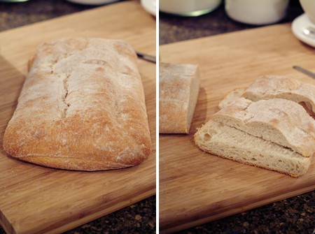 Cutting ciabatta bread