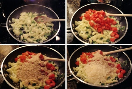 Add all ingredients for zucchini stuffing