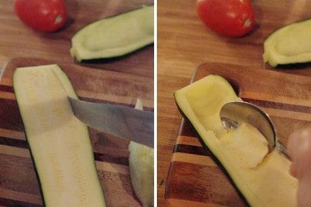 Core the zucchini for Stuffed Zucchini