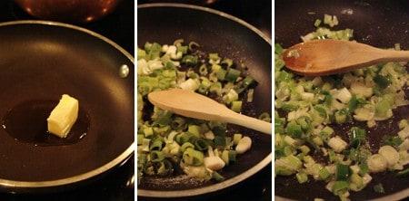 Saute onions for Stuffed Zucchini