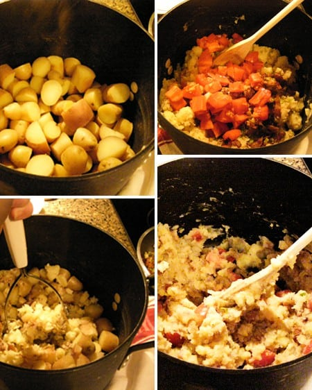 Smash together the cooked potatoes and remaining ingredients for BLT Smashed Potatoes