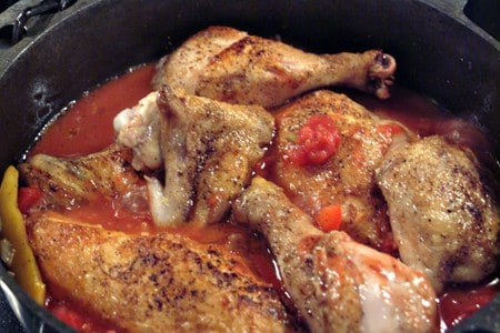 Add chicken back to pan